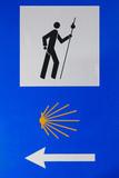 Sign of Camino de Santiago. Spain.Pilgrimage poster