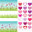 set of grass, flowers, hearts