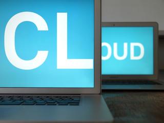 cloud, 2 laptops
