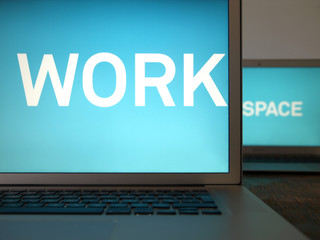 workspace, 2 laptops