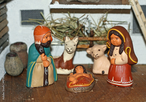 Nativity scene with Mary and Joseph and Jesus