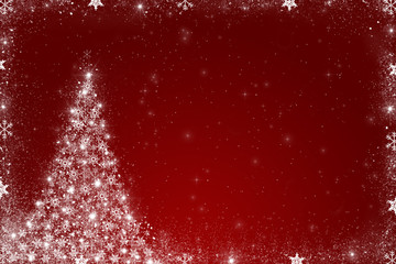 Red christmas background with christmas tree made of snowflakes