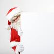 Weihnachtsmann mit leerem Schild