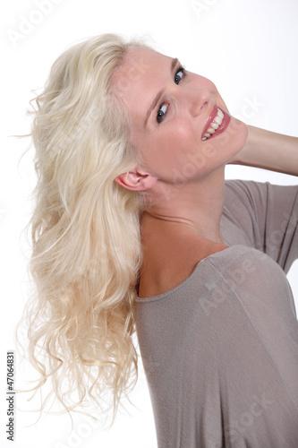 Joyful blonde woman