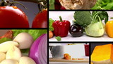 Food, fresh vegetables, Studio shot, composition 6 clips