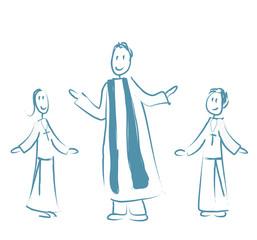 prêtre 2 enfants de choeur