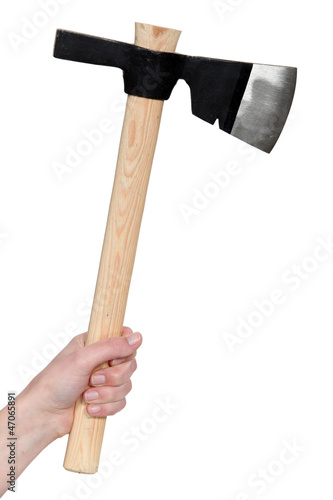Hand holding an ax