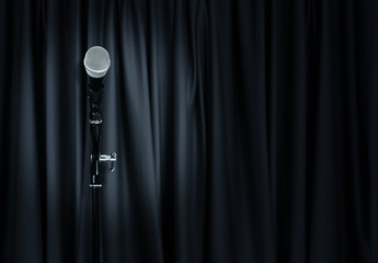 microphone theatre curtains
