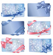 Set of colorful Gift cards with gift bows with ribbons Vector