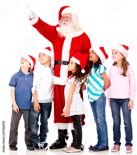 Santa showing something to kids