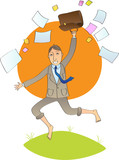 Office man jump with open bag with papers