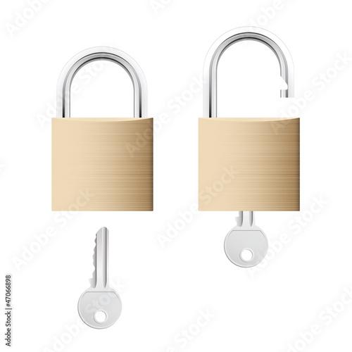 Locked and unlocked gold locks with keys isolated on white
