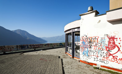 old building damaged by vandals, terrace, panoramic view