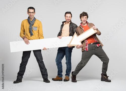 Three man with arrow
