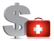 dollar and medical kit