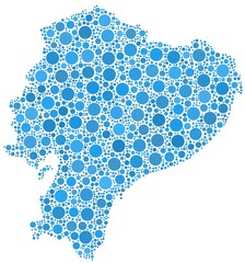 Map of Ecuador - Latin America - in a mosaic of blue circles