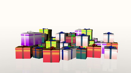 Magically piling up gift boxes, Alpha Channel