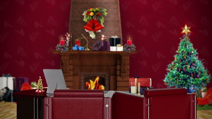 Office with Christmas decorations, seamless loop