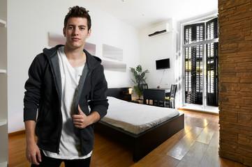 Young man at apartment