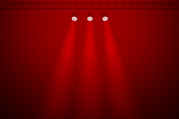 Three spotlights on a red background