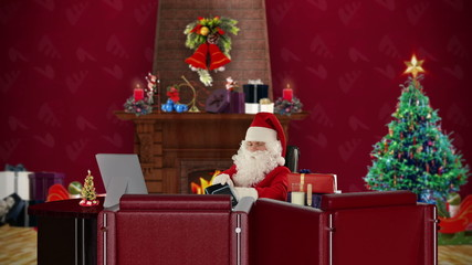 Santa Claus is checking blood pressure, office with Christmas
