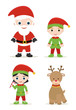 cute xmas set, santa, elves and deer