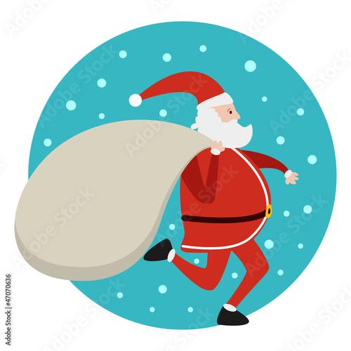 Santa Claus running with bag of presents Xmas