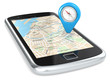 Smartphone with GPS map and Abstract Pointer Icon with Compass