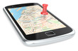 Navigation via Smart phone.Smartphone with a GPS map.Red Pushpin