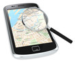 Search.Black Smartphone with a GPS map and a Magnifying Glass.