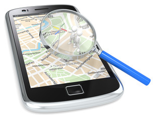 Smartphone with a GPS map and 3D people looking at Road Sign.
