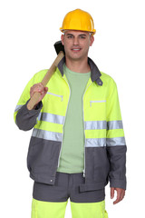 Worker with a sledgehammer