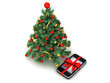 Christmas tree and cell phone as a christmas gift