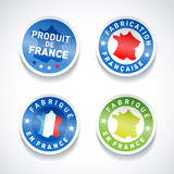 Set of Made in France stickers. Vector.