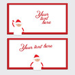 Red and white christmas border with Santa Claus