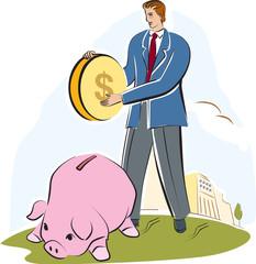 man putting a large coin into a piggy bank