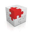 cubical puzzle with one red piece