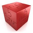red cubical 3d puzzle