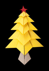 Yellow christmas tree black isolated
