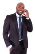 Portrait of a young African American business man making a phone