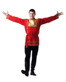 Happy man posing in russian oriental dance costume