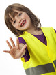 stop - little girl with high visibility vest