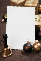 Christmas greeting card with brown Christmas decorations