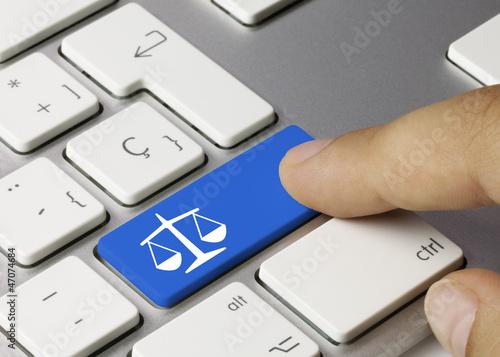 Justice keyboard key. Finger - 47074684