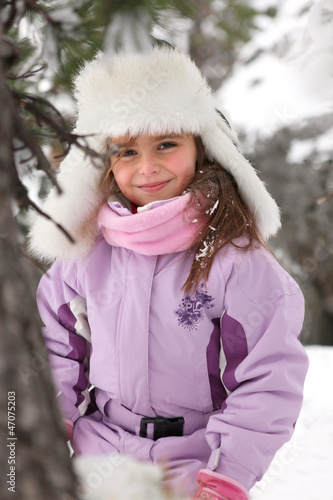 Little girl in the mountains