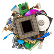 Heap of computer hardware