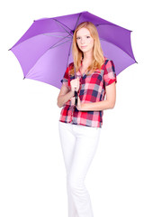 Young woman with purple umbrella