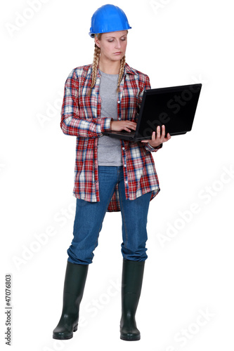 Female builder laptop