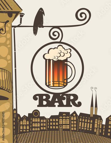 znak-ze-szklanka-piwa-na-rogu-domu
