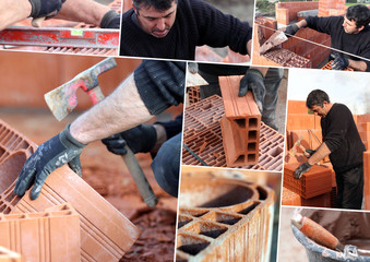 Mosaic of mason working on site
